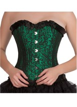 Green Black Brocade DOUBLE BONE Halloween Costume Bustier Overbust Corse... - $65.16