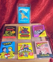 Lot 7 Vintage Gum wrappers, Raiders, CHiPS, CREATURE FEATURE, weird whee... - $7.66
