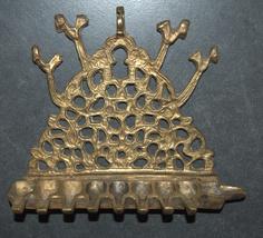 Antique North Africa Judaica Hanukkah Oil Menorah Engraved Bird Decorated Bronze image 2