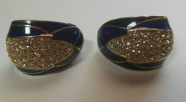 Vintage Signed CINER Pave Crystal Rhinestone & Blue Enamel Clip-on Earrings - $170.00