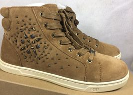 UGG Australia GRADIE DECO STUDS LEATHER Chestnut HIGH TOP SNEAKERS 1013911 image 3