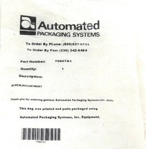 NEW AUTOMATED PACKAGING SYSTEMS 70607A1 SCREW ADJUSTMENT image 2