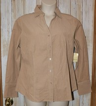 Womens Camel beige St Johns Bay Long Sleeve Corduroy Shirt Size XL NEW NWT - $14.84