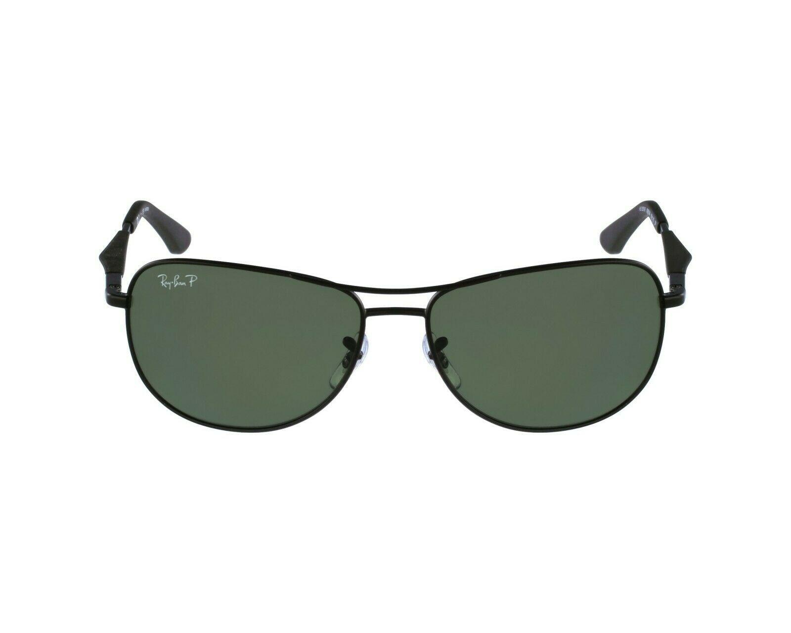 Nuevo Ray Ban RB 3519 006 / 9A Mate Negro W/ Verde Lentes Polarizados 59mm