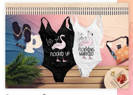 Bachelorette Swimsuits, Flamingo Custom Swim Suit, Flocking Married Bach... - $19.99