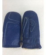 Vtg Grandoe Blue  Warm Winter Leather Mittens Ski Snow Gloves Size Men's M - $27.83