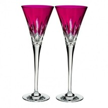 Waterford Lismore Pops Hot Pink Toasting Flute Pair #40019535 Brand New - $164.09