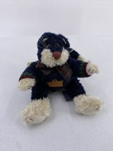 Boyds Bear Cat Black Beige Plush with Sweater Bow Green Eyes Kitty W Tag P2 - $9.49