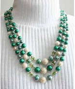 Elegant Green Faux Pearl & Goldtone Glitter Bead 3-strand Necklace 1960s... - $24.70