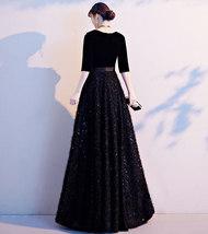 Women Half Sleeve Velvet Maxi Dress High Waist Formal Dress, Black, Plus Size image 15