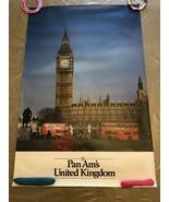 "Vintage PAN AM Travel Poster UK Big Ben, Houses of Parliament... (42"" x 28"") Ver - $49.90"