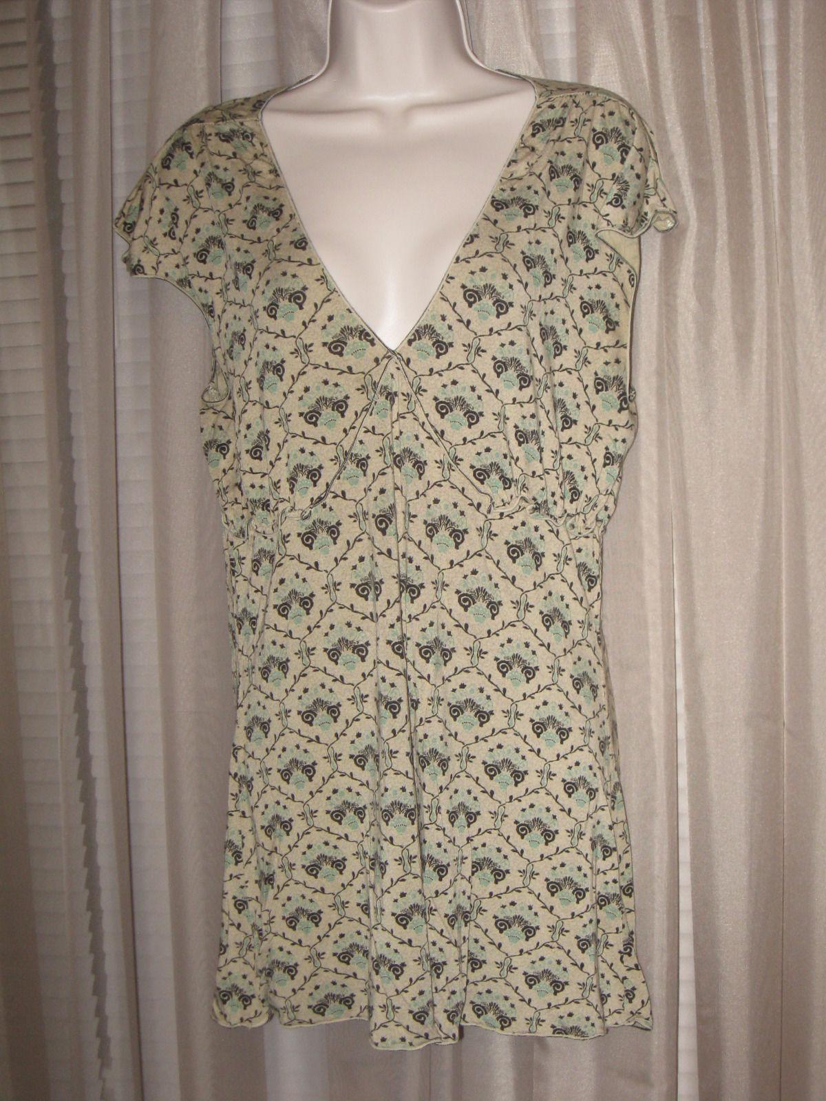 e7f37a9244894 S l1600. S l1600. Previous. Max Studio Medium Womens Green Floral Short Sleeve  V-Neck Long Summer Top