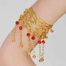 Dance Armband Belly Pair Indian Costume Beads Bollywood Women Gold Upper... - $14.25