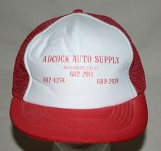 Adcock Auto Supply M/L Red Mesh Foam Baseball 5 Panel Hat Snapback River... - $25.69