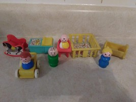 Vintage Fisher Price Little People Complete Nursery Playset 10 Pieces - $19.80