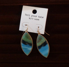Leaf Shape Drop Earrings Natural Stone - $7.92