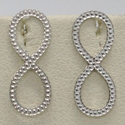 SOLID 925 STERLING SILVER EARRINGS, WORKED INFINITE SYMBOL, 17 mm, 0.67 inches