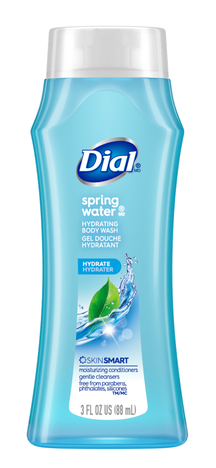 Primary image for Dial Hydrating Body Wash, Spring Water, 3 Fl. Oz. Travel Size