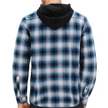 Tony Hawk Men's Casual Flannel Zip Up Plaid Sherpa Hoodie Lightweight Jacket image 9