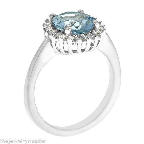AQUAMARINE & DIAMOND HALO ENGAGEMENT RING BRILLIANT ROUND 8mm 14KT WHITE GOLD