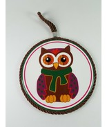 Winter Owl Round Hanging Wall Decor Art - $5.22
