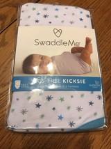 Swaddle Me Legs Free Kicksie Swaddling Blanket Summer Infant Blue Stars New - $17.44