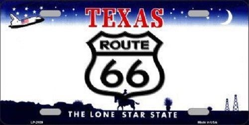 Route 66 Texas License Plate Novelty Metal State Background  Auto Tag Sign New