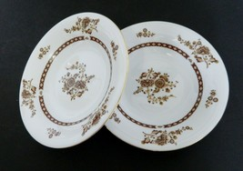 LiLing Yung Shen Fine China Cathay Coupe Soup Bowls Brown Floral Sprays ... - $16.71