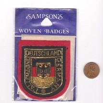 Vtg Deutschland Patch-Travel-Sampson Souvenir-Red Felt-Shield Crest-Germany - $14.01
