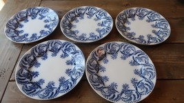 5 Antique Josephine Germany Blue White Porcelain Plates 8.25 inches - $118.80