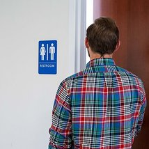 Unisex Restroom Sign, ADA-Compliant Bathroom Door Signs for Offices, Businesses, image 7