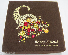 Vintage Set of 9 Honey Almond Guest Soaps Rhinestone Encrusted Cornucopi... - $21.77