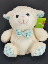 White Lamb Sheep Easter Plush Blue Checkered Feet Stuffed Animal Soft To... - $11.57