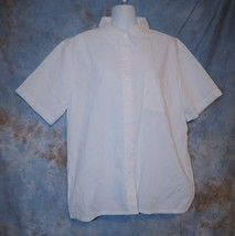 Womens White BocaBay Short Sleeve Shirt Size Large excellent - $7.91