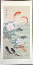 Koi Fish Beautiful Silk Watercolor Scroll Painting Characters Asian Marked - $94.99