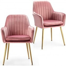 Accent Upholstered Arm Chair with Steel Gold Legs-Pink - Color: Pink - $281.42