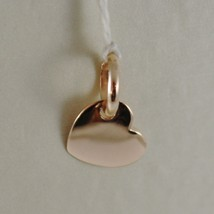 18K ROSE GOLD MINI PINK HEART CHARM PENDANT, FLAT SMOOTH SHINY MADE IN I... - $92.00