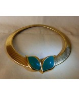 1980s MONET Goldtone Flex Choker Collar Necklace Green Enamel Center Pry... - $55.00