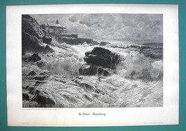 STORMY SEA Breakers Waves Rock Cliffs - VICTORIAN Era Print - $16.20