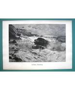 STORMY SEA Breakers Waves Rock Cliffs - VICTORIAN Era Print - $16.20