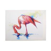 Geschenk Flamingo Sarah Stokes Weiß Blau Leinen Holz Bild 30 X 40cm - $13.04