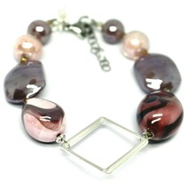BRACELET PINK PURPLE ROUNDED DROP, SPHERE, EXAGON MURANO GLASS SQUARE ITALY MADE image 1