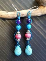 Unique Turquoise Howlite BEAD/PINK HOWLITE/PURPLE JADE/BLUE Wire Wrap Earrings - $11.99