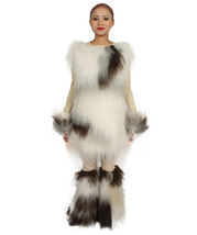 Furry Dog Collection | Women's White and Brown Straight Furry Dog Cosplay Costum - $122.85
