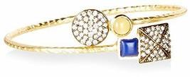"Blossom Box Gold Tone Lemon Quartz Lapis CZ 7"" Adjustable Bangle Bracelet NWT image 1"