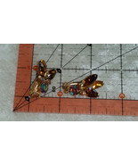 vintage gold tone clip on tan brown amber rust color earrings Downton Abbey - $15.00