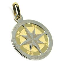 "18K YELLOW WHITE GOLD COMPASS WIND ROSE PENDANT, DIAMETER 2 CM, 0.8"", 2 FACES  image 3"
