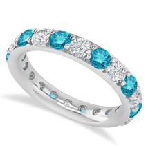 2.50 Ct Round Blue & White Real Diamond 14K Gold Full Eternity Wedding B... - €1.140,26 EUR