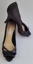 Kate Spade Womens Shoes Heels Black Sparkle Pumps Bow Peep Toe Cut Out Size 6.5B - $89.06