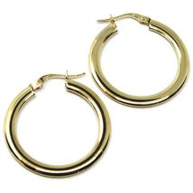 18K YELLOW GOLD CIRCLE HOOPS 3x1mm, EARRINGS 26mm, DOUBLE FACE SMOOTH & SATIN image 4